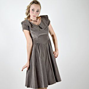 1950s Gray Velvet Dress